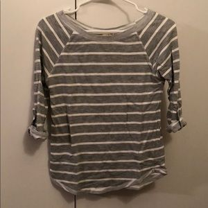 Gray & white striped fitted shirt